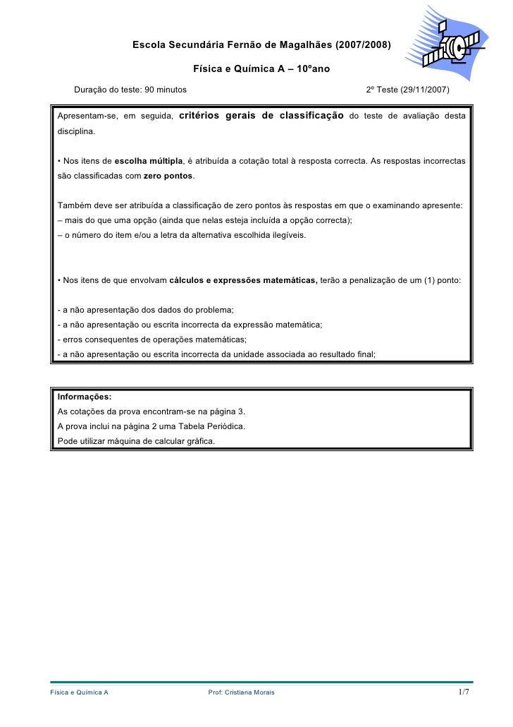 Escola Secundária Fernão de Magalhães (2007/2008)                                        Física e Química A – 10ºano      ...