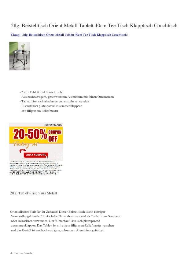 2tlg. Beistelltisch Orient Metall Tablett 40cm Tee Tisch Klapptisch CouchtischCheap!- 2tlg. Beistelltisch Orient Metall Ta...
