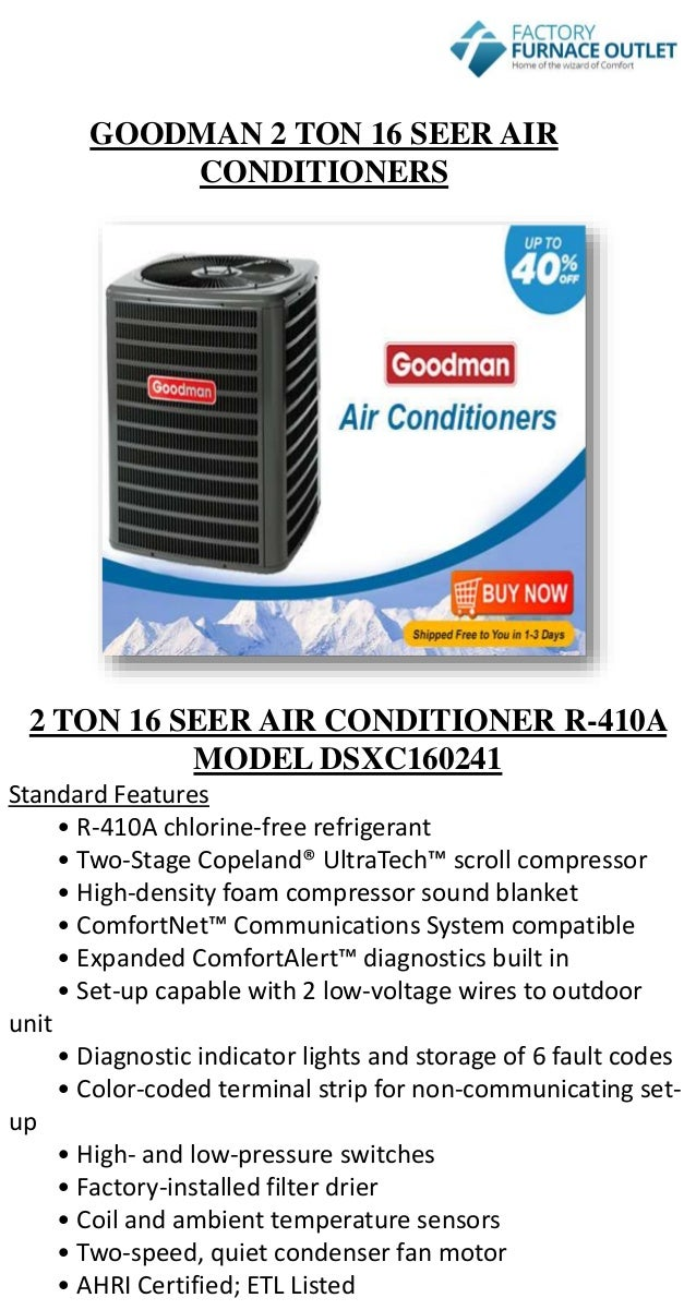 2 Ton Air Conditioner R22 at The Furnace Outlet