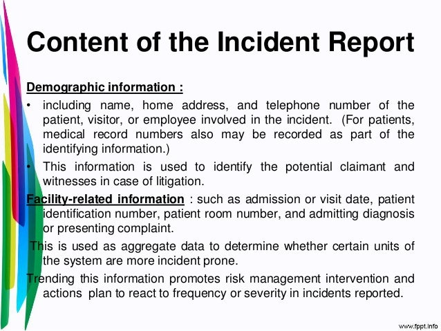 Example Of Incident Report Letter In Hospital Image Gallery - Hcpr