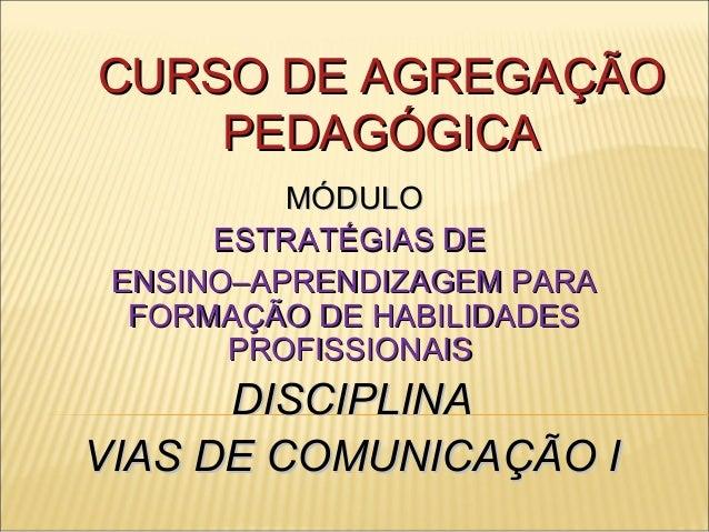 CURSO DE AGREGAÇÃOCURSO DE AGREGAÇÃO PEDAGÓGICAPEDAGÓGICA MÓDULOMÓDULO ESTRATÉGIAS DEESTRATÉGIAS DE ENSINO–APRENDIZAGEM PA...