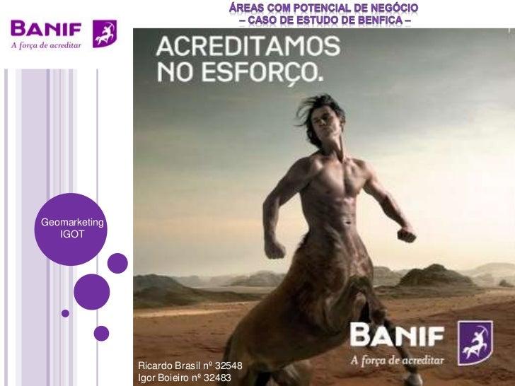 áreas com potencial de negócio <br /> – caso de estudo de Benfica –  <br />Geomarketing<br />IGOT<br />Ricardo Brasil nº 3...