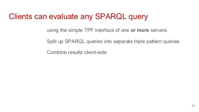 Clients can evaluate any SPARQL query using the simple TPF interface of one or more servers Split up SPARQL queries into s...