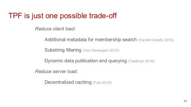 TPF is just one possible trade-off Reduce client load: Additional metadata for membership search (Vander Sande 2015) Subst...