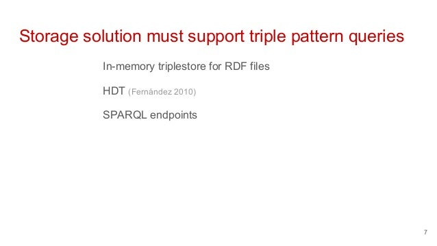 Storage solution must support triple pattern queries In-memory triplestore for RDF files HDT (Fernández 2010) SPARQL endpo...
