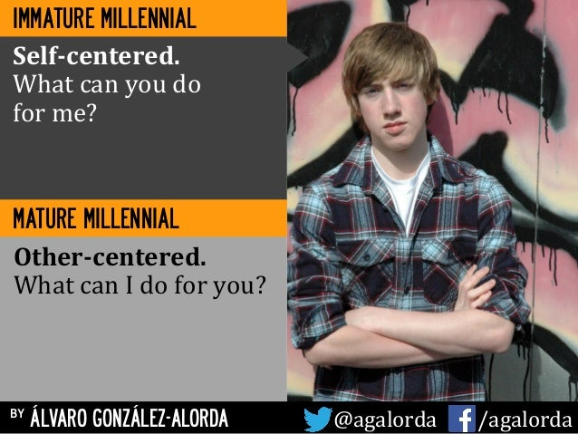 by ÁLVARO GONZÁLEZ-ALORDA @agalorda	   	   	   	   	    /agalorda MATURE MILLENNIAL Self-­‐centered.	    What	   can	   yo...