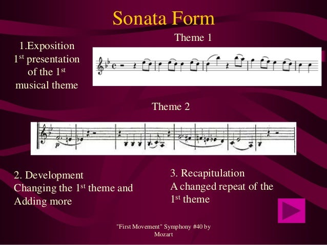 sonata form and 40th symphony A symphony is a multi movement piece of music an opening allegro movement in sonata form, a slow movement, a dance movement, and a second fast movement.