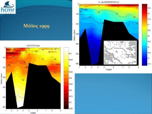 Μεταβολές στα χαρακτηριστικά των επιφανειακών και ενδιάμεσων μαζών του Βόρειου και Κεντρικού Αιγαίου μετά το Eastern Mediterranean Transient (EMT). Slide 3