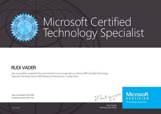 Microsoft® certified technology specialist; windows server 2008 netwo…