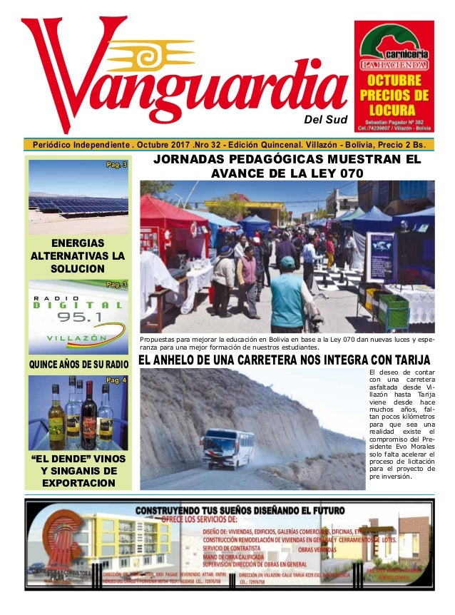 Del Sud Periódico Independiente . Octubre 2017 .Nro 32 - Edición Quincenal. Villazón - Bolivia, Precio 2 Bs. QUINCE AÑOS D...