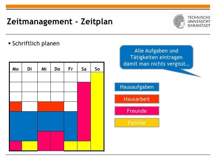 Zeitmanagement - Zeitplan Schriftlich planen                                          Alle Aufgaben und                  ...