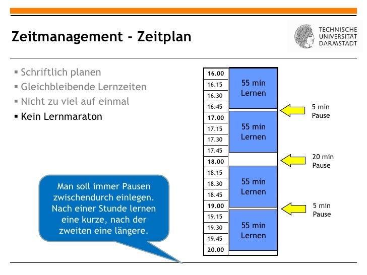 Zeitmanagement - Zeitplan Schriftlich planen               16.00                                           55 min Gleich...