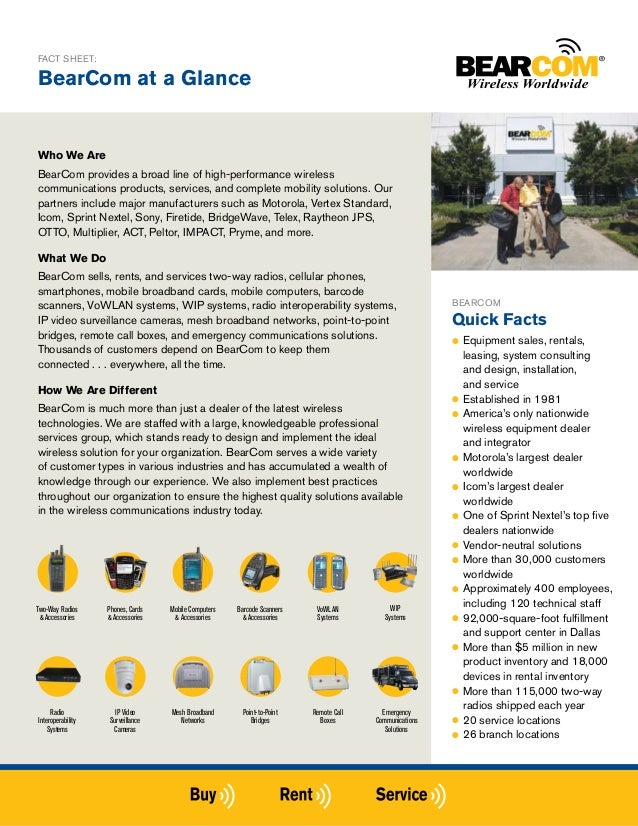 FACT SHEET:BearCom at a GlanceWho We AreBearCom provides a broad line of high-performance wirelesscommunications products,...