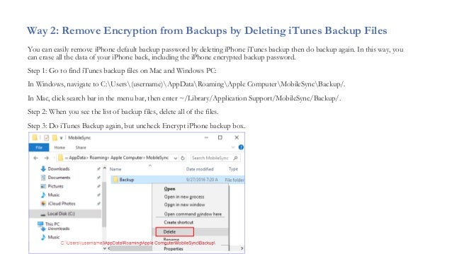 itunes remove iphone backup