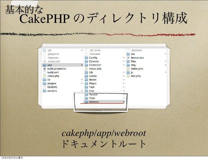 基本的な         CakePHP のディレクトリ構成              cakephp/app/webroot              ドキュメントルート12年4月21日土曜日