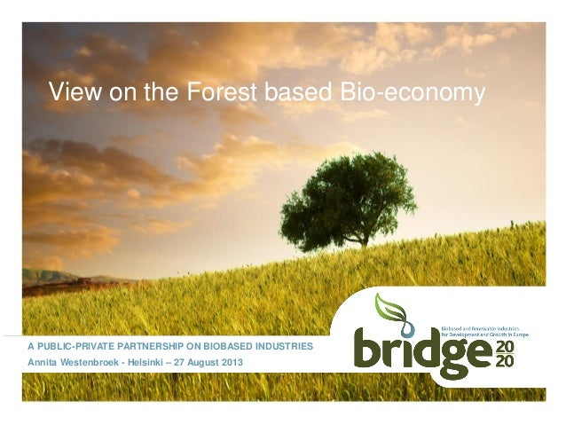 View on the Forest based Bio-economy A PUBLIC-PRIVATE PARTNERSHIP ON BIOBASED INDUSTRIES Annita Westenbroek - Helsinki – 2...