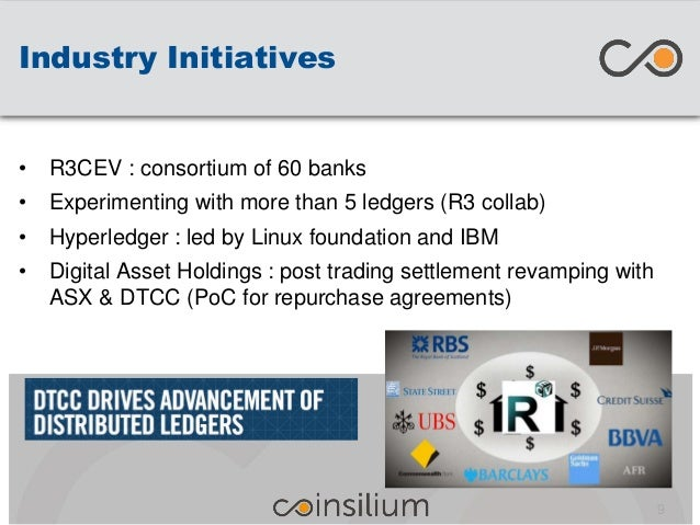 Industry Initiatives 9 • R3CEV : consortium of 60 banks • Experimenting with more than 5 ledgers (R3 collab) • Hyperledger...
