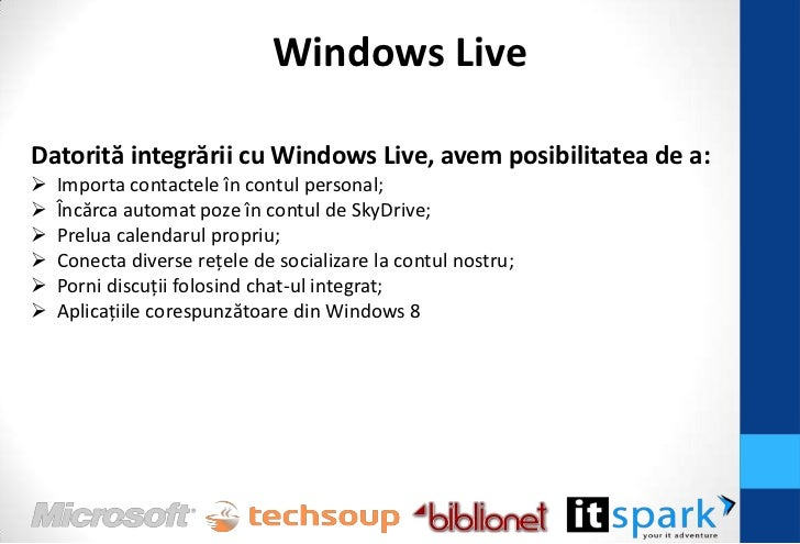 SkyDriveFolosind aplicaţia SkyDrive, avem posibilitatea de a: Accesa documentele din contul personal; Accesa documentele...