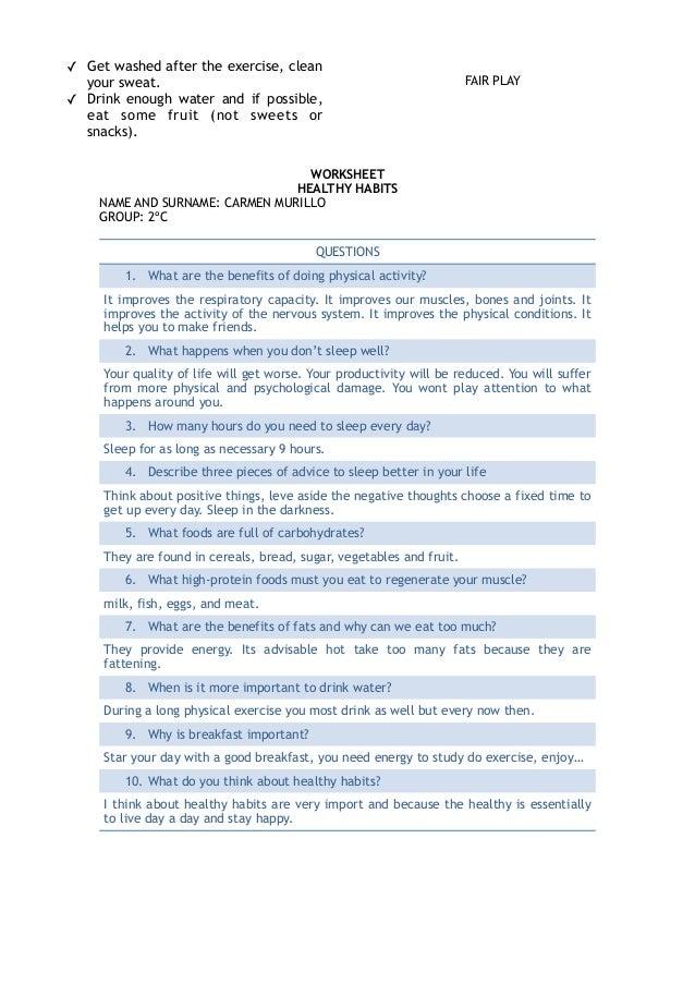 2 worksheet healthy habits – Sleep Hygiene Worksheet