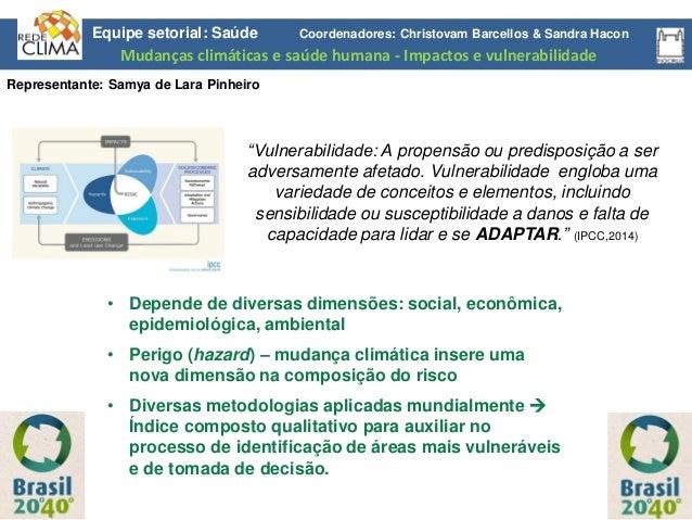 """Equipe setorial: Saúde Coordenadores: Christovam Barcellos & Sandra Hacon """"Vulnerabilidade: A propensão ou predisposição a..."""