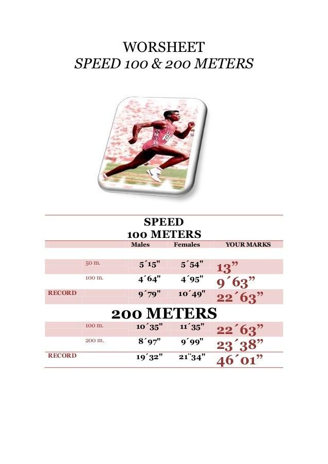 """WORSHEET SPEED 100 & 200 METERS  SPEED 100 METERS Males  Females  YOUR MARKS  100 METROS 50 m.  5´15""""  5´54""""  100 m.  4´64..."""