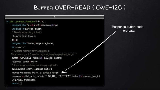 Buffer OVER-READ ( CWE-126 ) int dtls1_process_heartbeat(SSL *s) { unsigned char *p = &s->s3->rrec.data[0], *pl; unsigned ...