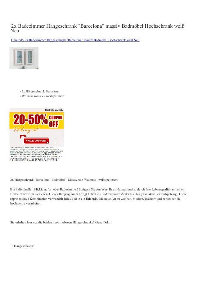 """2x Badezimmer Hängeschrank """"Barcelona"""" massiv Badmöbel Hochschrank weißNeuLimited!- 2x Badezimmer Hängeschrank """"Barcelona""""..."""