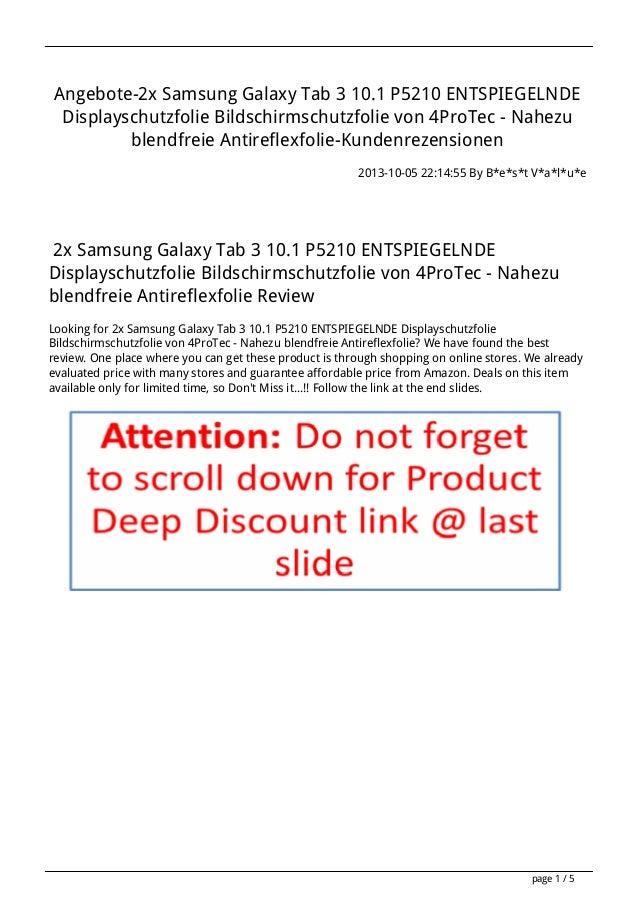 Angebote-2x Samsung Galaxy Tab 3 10.1 P5210 ENTSPIEGELNDE Displayschutzfolie Bildschirmschutzfolie von 4ProTec - Nahezu bl...