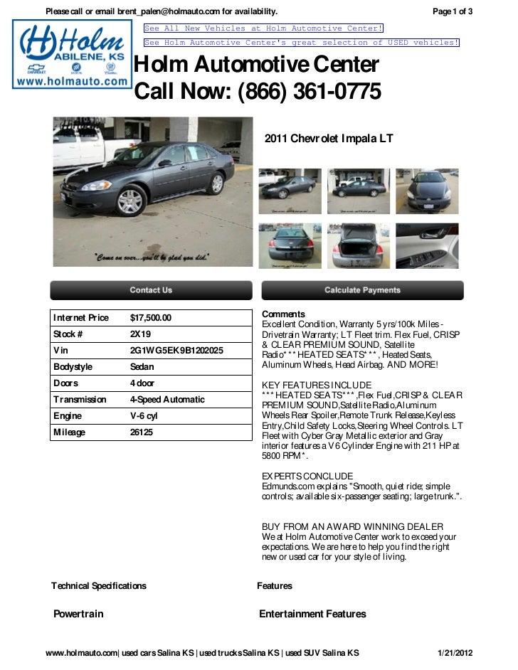 USED Chevrolet Impala Salina KS Holm Automotive Center X - Holm chevrolet