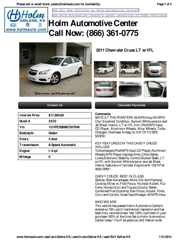 USED Chevrolet Cruze Salina KS Holm Automotive Center X - Holm chevrolet