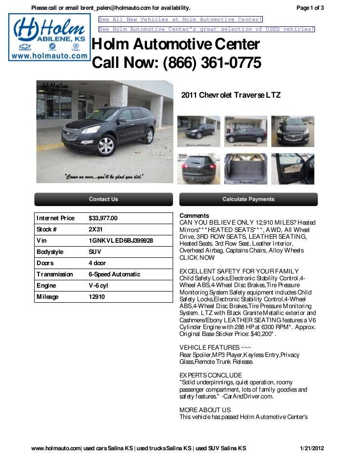 USED Chevrolet Traverse Salina KS Holm Automotive Center X - Holm chevrolet