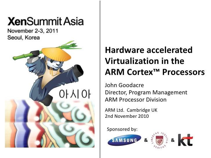 Hardware accelerated Virtualization in the  ARM Cortex ™  Processors John Goodacre Director, Program Management ARM Proces...