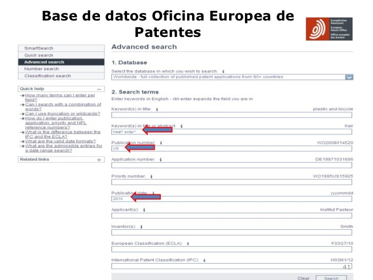Uso de base de datos de patentes for Oficina europea de patentes