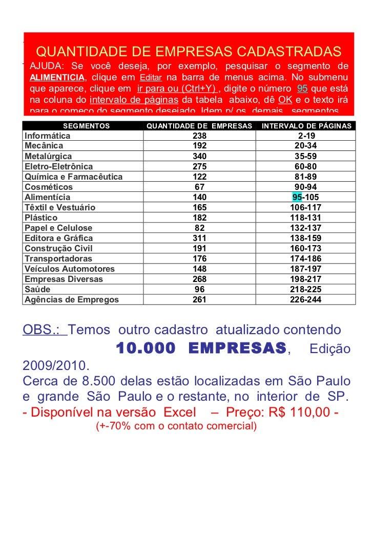 198210   QUANTIDADE DE EMPRESAS CADASTRADAS  AJUDA: Se você deseja, por exemplo, pesquisar o segmento de  ALIMENTICIA, cli...