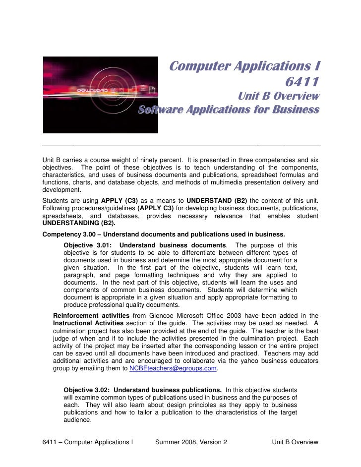 Computer Applications I                                                             6411                                  ...