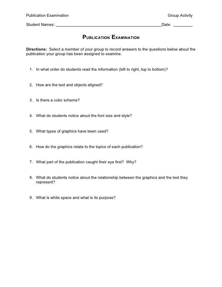 Publication Examination                                                          Group Activity  Student Names:           ...