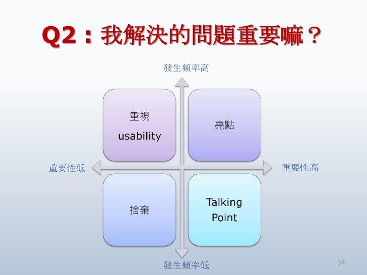 Q2 : 我解決的問題重要嘛?       發生頻率高重要性低           重要性高                      34       發生頻率低