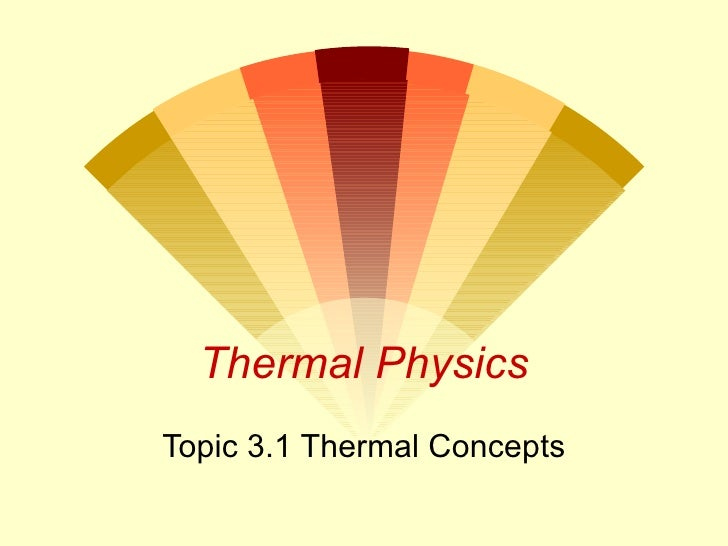 Thermal Physics Topic 3.1 Thermal Concepts