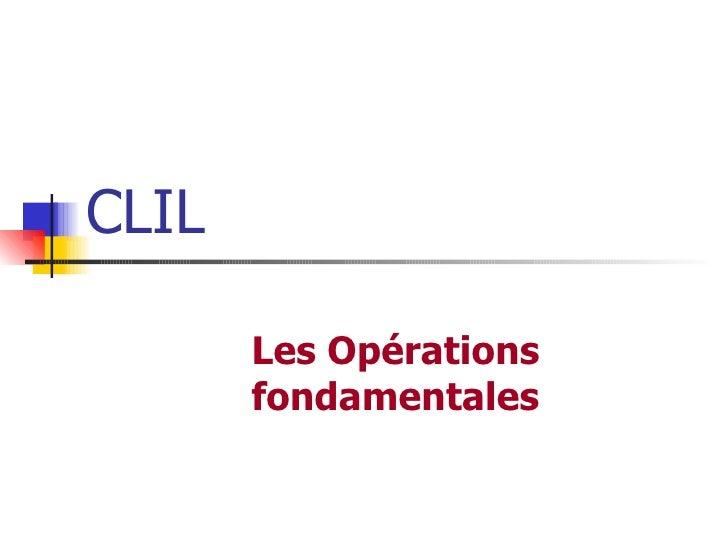 CLIL Les Opérations fondamentales