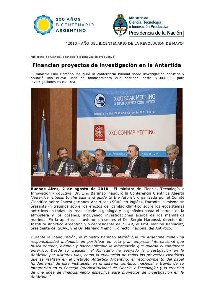 """""""2010 - AÑO DEL BICENTENARIO DE LA REVOLUCION DE MAYO""""   Ministerio de Ciencia, Tecnología e Innovación Productiva    Fina..."""