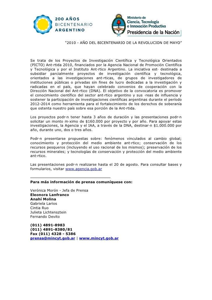 """""""2010 - AÑO DEL BICENTENARIO DE LA REVOLUCION DE MAYO""""     Se trata de los Proyectos de Investigación Científica y Tecnoló..."""