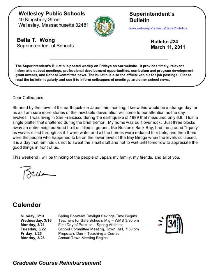 Wellesley Public Schools                                          Superintendent's       40 Kingsbury Street              ...