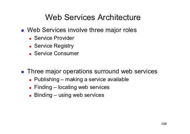 Web Services Architecture   Web Services involve three major roles        Service Provider        Service Registry  ...