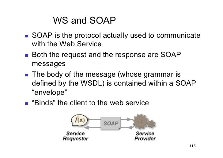 WS and SOAP   SOAP is the protocol actually used to communicate     with the Web Service   Both the request and the re...
