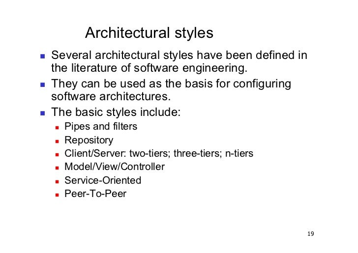 3 architetture software architectural styles for Basic architectural styles