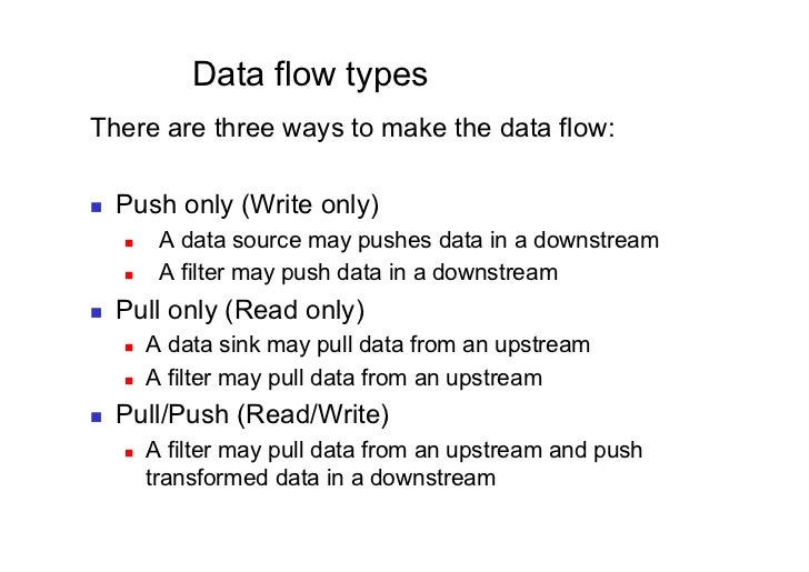 Data flow typesThere are three ways to make the data flow:   Push only (Write only)         A data source may pushes d...