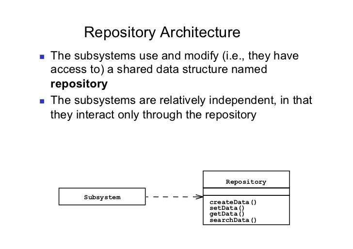 Repository Architecture   The subsystems use and modify (i.e., they have     access to) a shared data structure named   ...