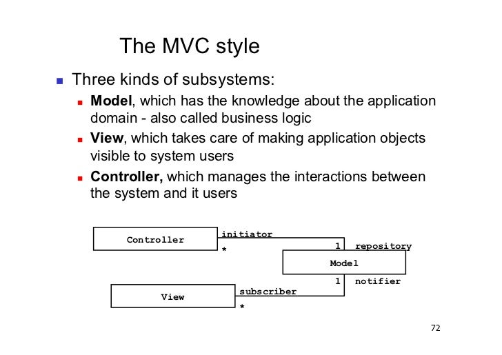 The MVC style   Three kinds of subsystems:        Model, which has the knowledge about the application          domain...