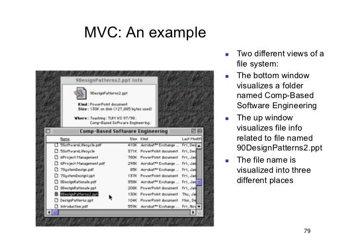 MVC: An example                     Two different views of a                       file system:                     Th...