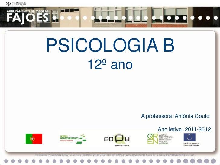PSICOLOGIA B                                                  12º ano                                                     ...